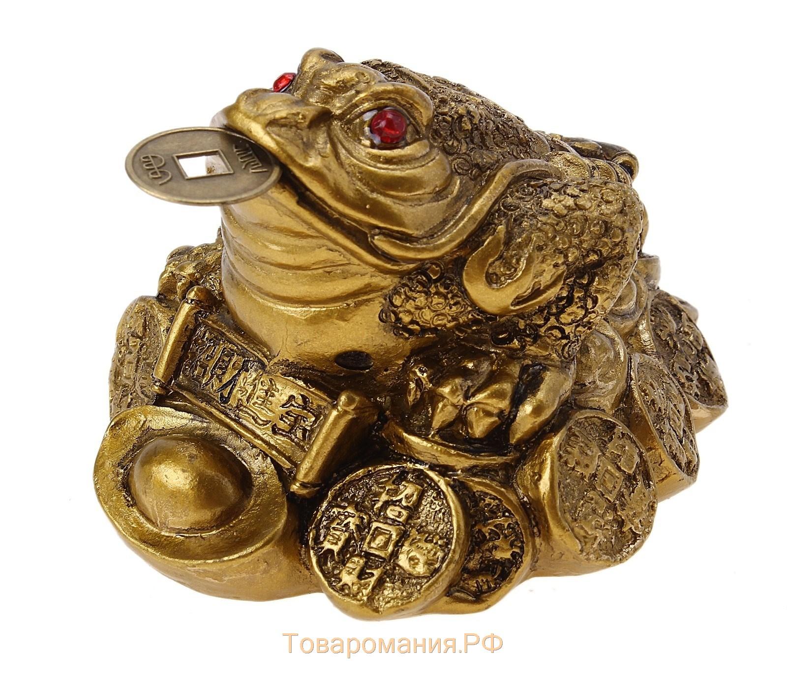 Жаба на куче монет и жемчуга (13 см)